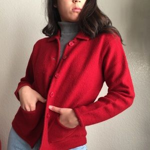Vintage Wool Sweater Jacket in Cherry Red